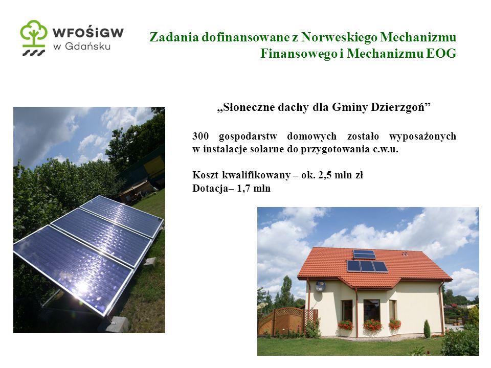 """21 Zadania dofinansowane z Norweskiego Mechanizmu Finansowego i Mechanizmu EOG """"Słoneczne dachy dla Gminy Dzierzgoń 300 gospodarstw domowych zostało wyposażonych w instalacje solarne do przygotowania c.w.u."""