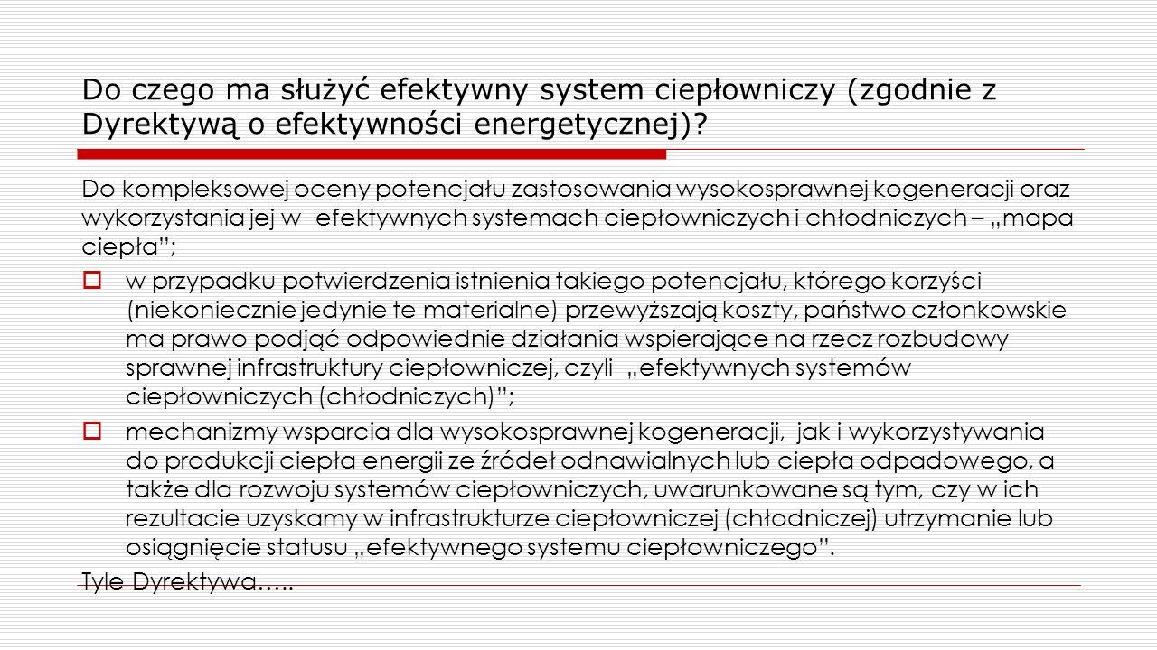 Do czego ma służyć efektywny system ciepłowniczy (zgodnie z Dyrektywą o efektywności energetycznej)? Do kompleksowej oceny potencjału zastosowania wys