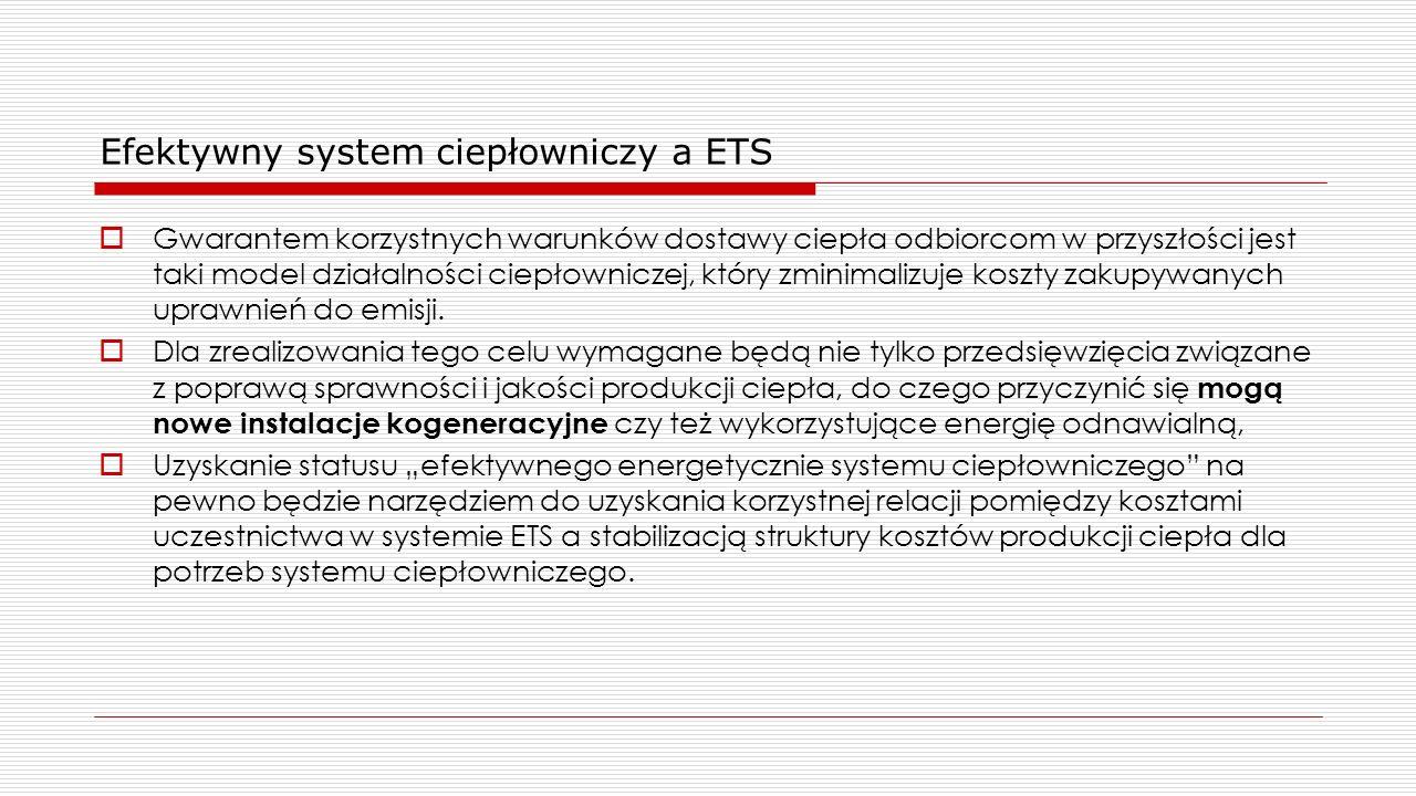Efektywny system ciepłowniczy a ETS  Gwarantem korzystnych warunków dostawy ciepła odbiorcom w przyszłości jest taki model działalności ciepłowniczej