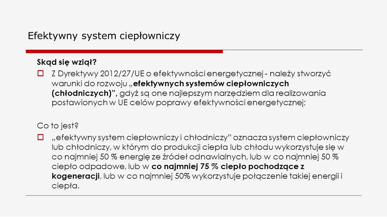 """Efektywny system ciepłowniczy Skąd się wziął?  Z Dyrektywy 2012/27/UE o efektywności energetycznej - należy stworzyć warunki do rozwoju """" efektywnych"""