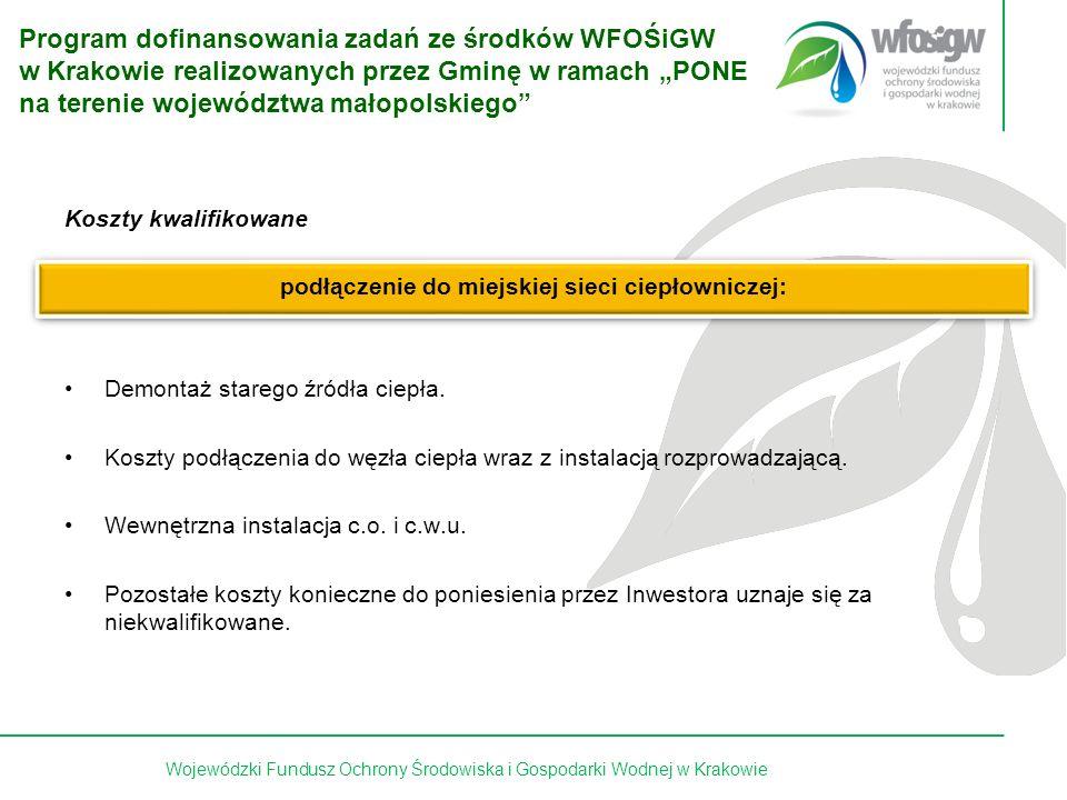 10 z 15 Koszty kwalifikowane podłączenie do miejskiej sieci ciepłowniczej: Demontaż starego źródła ciepła.