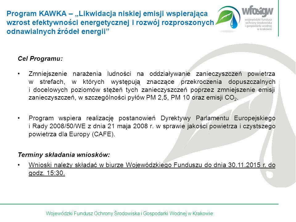 14 z 15Wojewódzki Fundusz Ochrony Środowiska i Gospodarki Wodnej w Krakowie Cel Programu: Zmniejszenie narażenia ludności na oddziaływanie zanieczyszczeń powietrza w strefach, w których występują znaczące przekroczenia dopuszczalnych i docelowych poziomów stężeń tych zanieczyszczeń poprzez zmniejszenie emisji zanieczyszczeń, w szczególności pyłów PM 2,5, PM 10 oraz emisji CO 2.