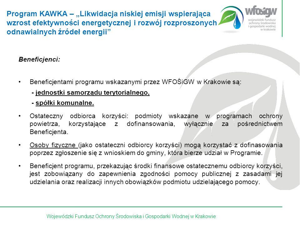 16 z 15Wojewódzki Fundusz Ochrony Środowiska i Gospodarki Wodnej w Krakowie Podstawowe wymogi: Przedsięwzięcie objęte wnioskiem o dofinansowanie jest ujęte w obowiązującym programie ochrony powietrza opracowanym zgodnie z art.