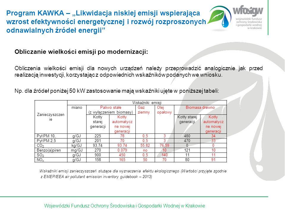 29 z 15Wojewódzki Fundusz Ochrony Środowiska i Gospodarki Wodnej w Krakowie Obliczanie wielkości emisji po modernizacji: Obliczenia wielkości emisji dla nowych urządzeń należy przeprowadzić analogicznie jak przed realizacją inwestycji, korzystając z odpowiednich wskaźników podanych we wniosku.
