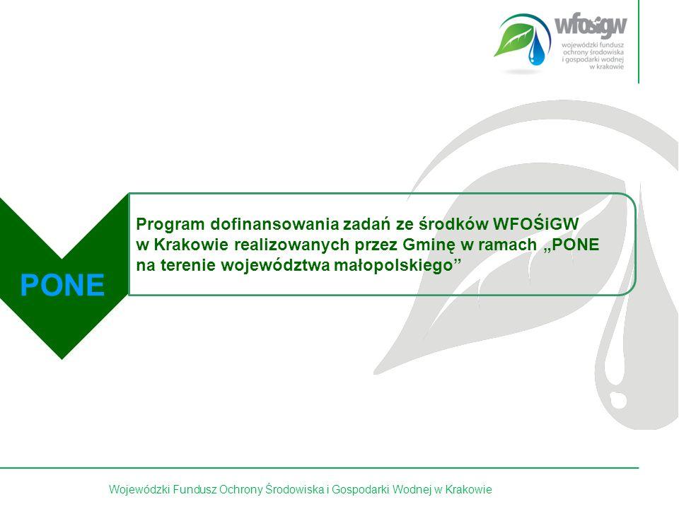 4 z 15 Czas trwania Programu: lata 2012 – 2017 Terminy składania wniosków: na bieżąco Program skierowany do gmin województwa małopolskiego, które posiadają aktualny gminny program ochrony powietrza wpisujący się w aktualny Program Ochrony Środowiska Województwa Małopolskiego oraz Program ochrony powietrza dla województwa małopolskiego: Małopolska 2023 - w zdrowej atmosferze przyjęty przez Sejmik Województwa Małopolskiego Uchwałą Nr XLII/662/13 z dnia 30 września 2013 r.