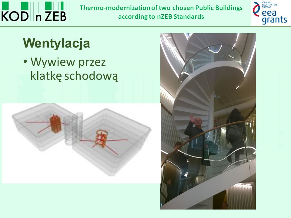 Thermo-modernization of two chosen Public Buildings according to nZEB Standards Wentylacja Wywiew przez klatkę schodową