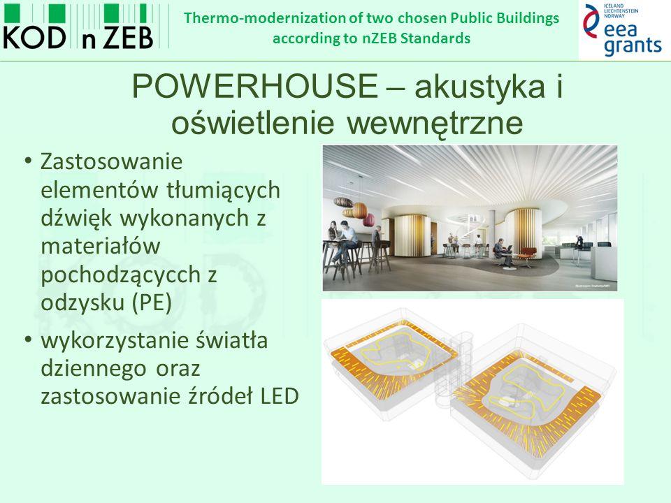 Thermo-modernization of two chosen Public Buildings according to nZEB Standards POWERHOUSE – akustyka i oświetlenie wewnętrzne Zastosowanie elementów tłumiących dźwięk wykonanych z materiałów pochodzącycch z odzysku (PE) wykorzystanie światła dziennego oraz zastosowanie źródeł LED