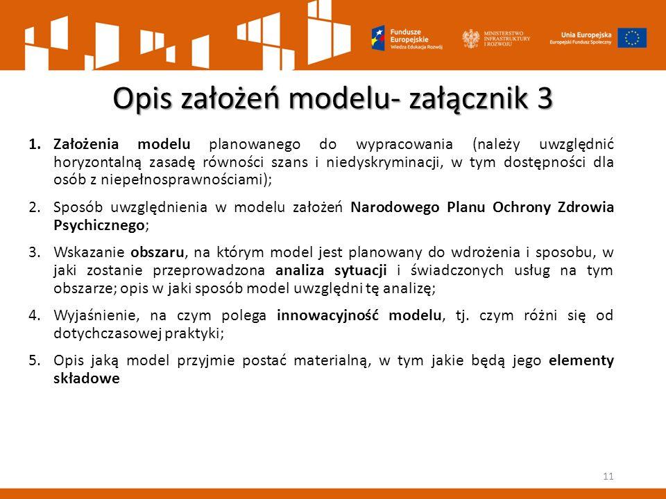 Opis założeń modelu- załącznik 3 1.Założenia modelu planowanego do wypracowania (należy uwzględnić horyzontalną zasadę równości szans i niedyskryminac