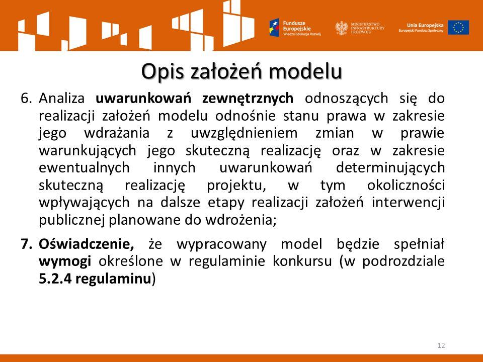 Opis założeń modelu 6.Analiza uwarunkowań zewnętrznych odnoszących się do realizacji założeń modelu odnośnie stanu prawa w zakresie jego wdrażania z u