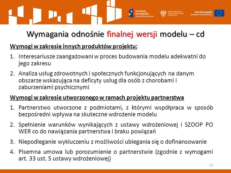 Wymagania odnośnie finalnej wersji modelu – cd Wymogi w zakresie innych produktów projektu: 1.Interesariusze zaangażowani w proces budowania modelu ad