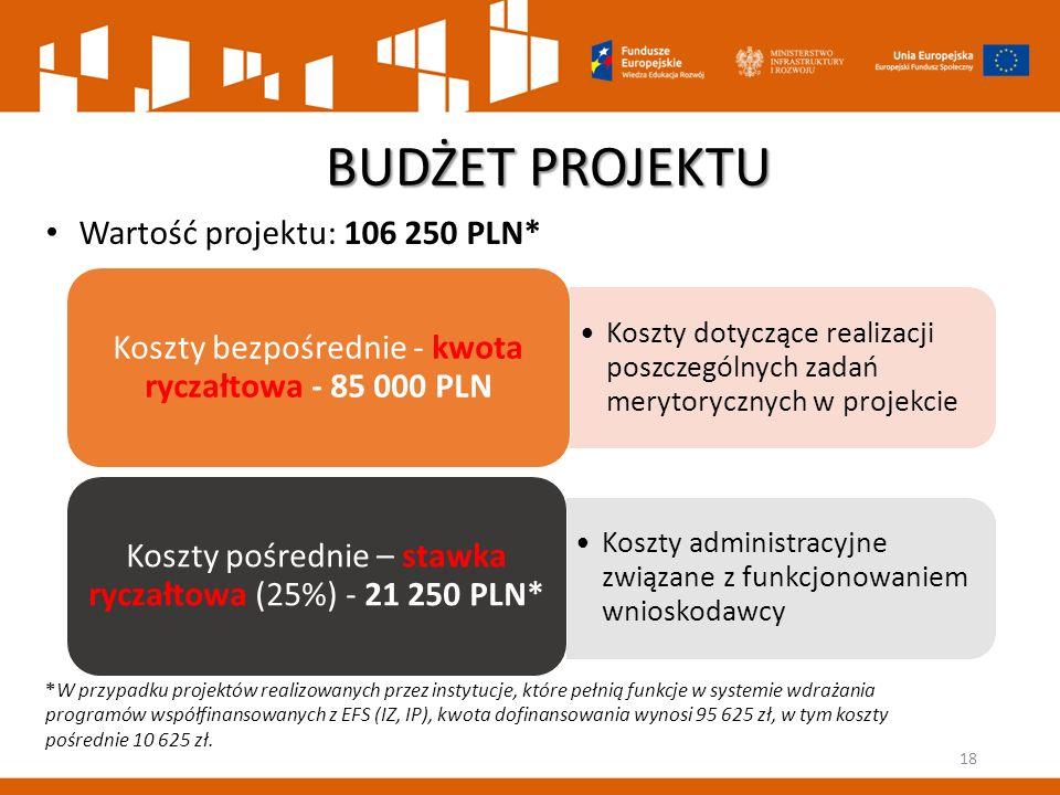 Koszty dotyczące realizacji poszczególnych zadań merytorycznych w projekcie Koszty bezpośrednie - kwota ryczałtowa - 85 000 PLN Koszty administracyjne