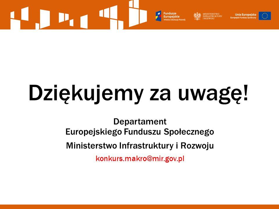 Dziękujemy za uwagę! Departament Europejskiego Funduszu Społecznego Ministerstwo Infrastruktury i Rozwoju konkurs.makro@mir.gov.pl