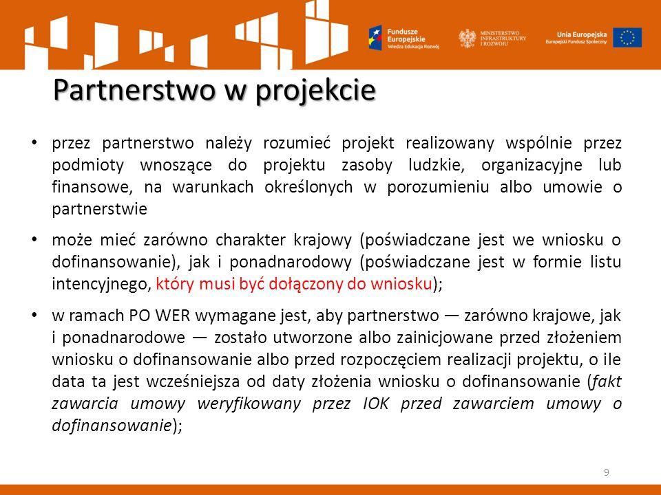 Partnerstwo w projekcie 9 przez partnerstwo należy rozumieć projekt realizowany wspólnie przez podmioty wnoszące do projektu zasoby ludzkie, organizac