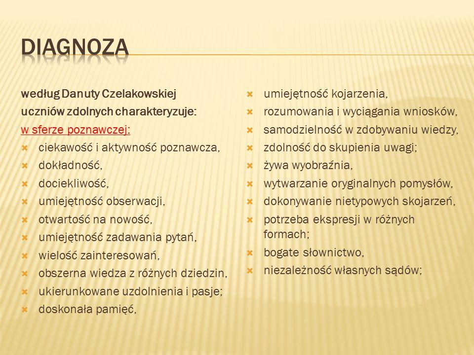 według Danuty Czelakowskiej uczniów zdolnych charakteryzuje: w sferze poznawczej:  ciekawość i aktywność poznawcza,  dokładność,  dociekliwość,  u
