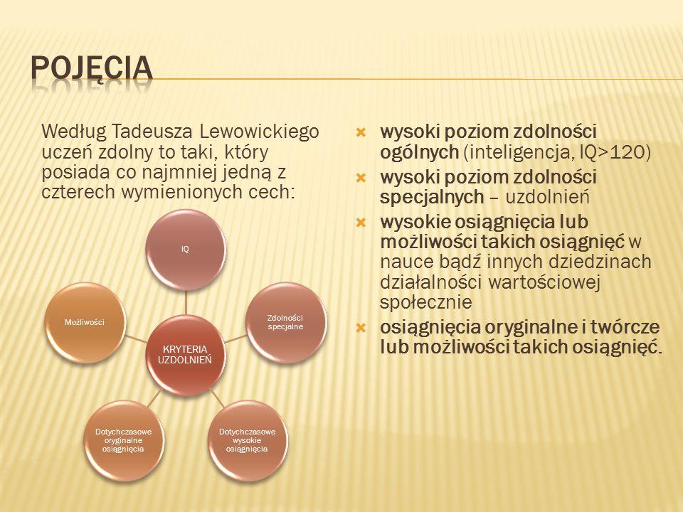Według Tadeusza Lewowickiego uczeń zdolny to taki, który posiada co najmniej jedną z czterech wymienionych cech:  wysoki poziom zdolności ogólnych (inteligencja, IQ>120)  wysoki poziom zdolności specjalnych – uzdolnień  wysokie osiągnięcia lub możliwości takich osiągnięć w nauce bądź innych dziedzinach działalności wartościowej społecznie  osiągnięcia oryginalne i twórcze lub możliwości takich osiągnięć.