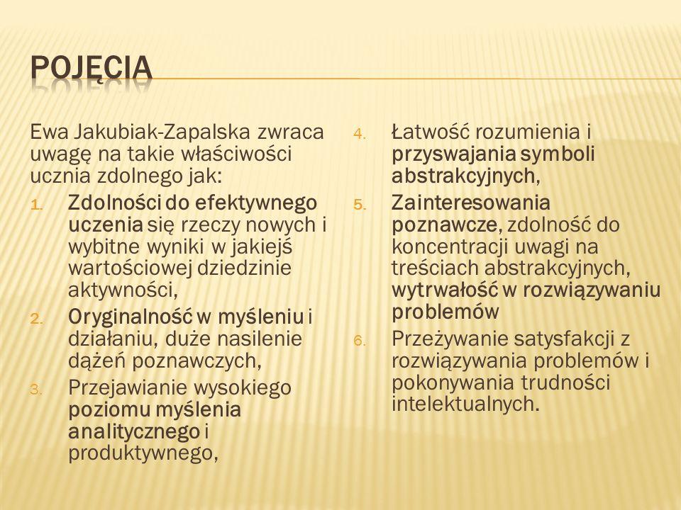 Ewa Jakubiak-Zapalska zwraca uwagę na takie właściwości ucznia zdolnego jak: 1. Zdolności do efektywnego uczenia się rzeczy nowych i wybitne wyniki w
