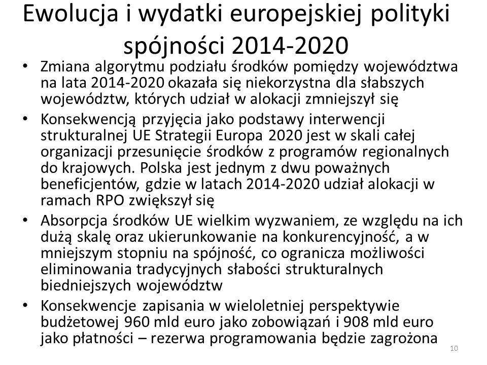Ewolucja i wydatki europejskiej polityki spójności 2014-2020 Zmiana algorytmu podziału środków pomiędzy województwa na lata 2014-2020 okazała się niek