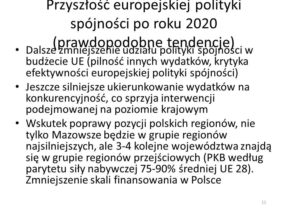 Przyszłość europejskiej polityki spójności po roku 2020 (prawdopodobne tendencje) Dalsze zmniejszenie udziału polityki spójności w budżecie UE (pilnoś