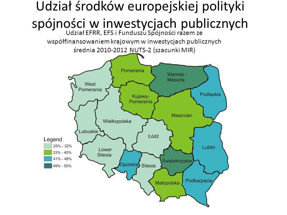 Udział środków europejskiej polityki spójności w inwestycjach publicznych Udział EFRR, EFS i Funduszu Spójności razem ze współfinansowaniem krajowym w