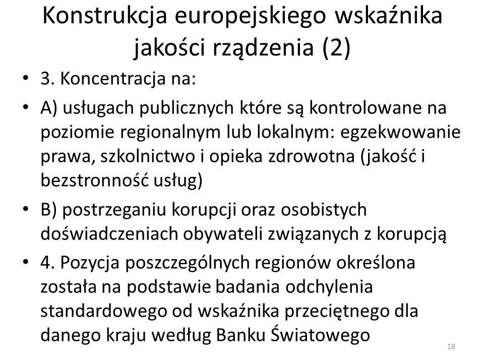 Konstrukcja europejskiego wskaźnika jakości rządzenia (2) 3. Koncentracja na: A) usługach publicznych które są kontrolowane na poziomie regionalnym lu