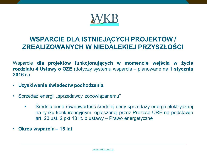 www.wkb.com.pl WSPARCIE DLA ISTNIEJĄCYCH PROJEKTÓW / ZREALIZOWANYCH W NIEDALEKIEJ PRZYSZŁOŚCI Wsparcie dla projektów funkcjonujących w momencie wejści