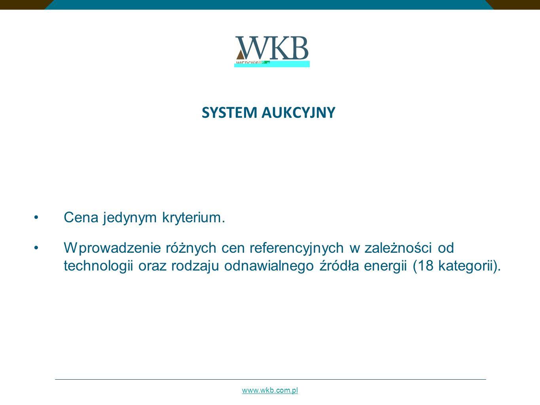 www.wkb.com.pl SYSTEM AUKCYJNY Cena jedynym kryterium. Wprowadzenie różnych cen referencyjnych w zależności od technologii oraz rodzaju odnawialnego ź
