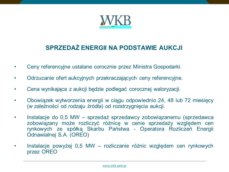 www.wkb.com.pl SPRZEDAŻ ENERGII NA PODSTAWIE AUKCJI Ceny referencyjne ustalane corocznie przez Ministra Gospodarki. Odrzucanie ofert aukcyjnych przekr