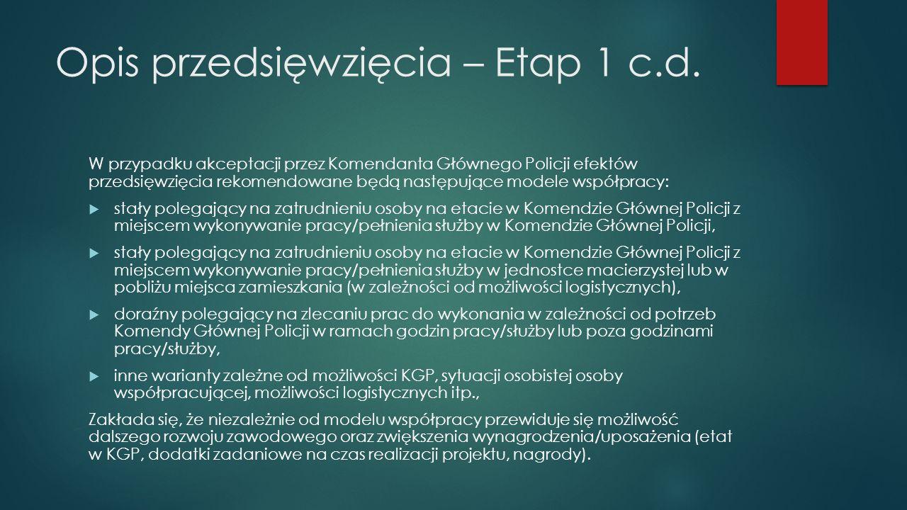 Opis przedsięwzięcia – Etap 1 c.d.