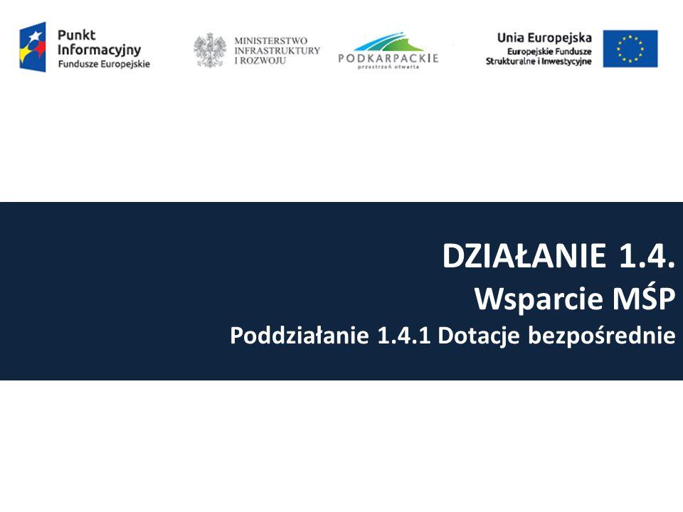 DZIAŁANIE 1.4. Wsparcie MŚP Poddziałanie 1.4.1 Dotacje bezpośrednie