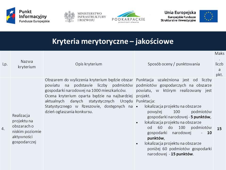 Kryteria merytoryczne – jakościowe Lp.