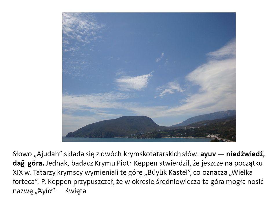 """Słowo """"Ajudah"""" składa się z dwóch krymskotatarskich słów: ayuv — niedźwiedź, dağ góra. Jednak, badacz Krymu Piotr Keppen stwierdził, że jeszcze na poc"""
