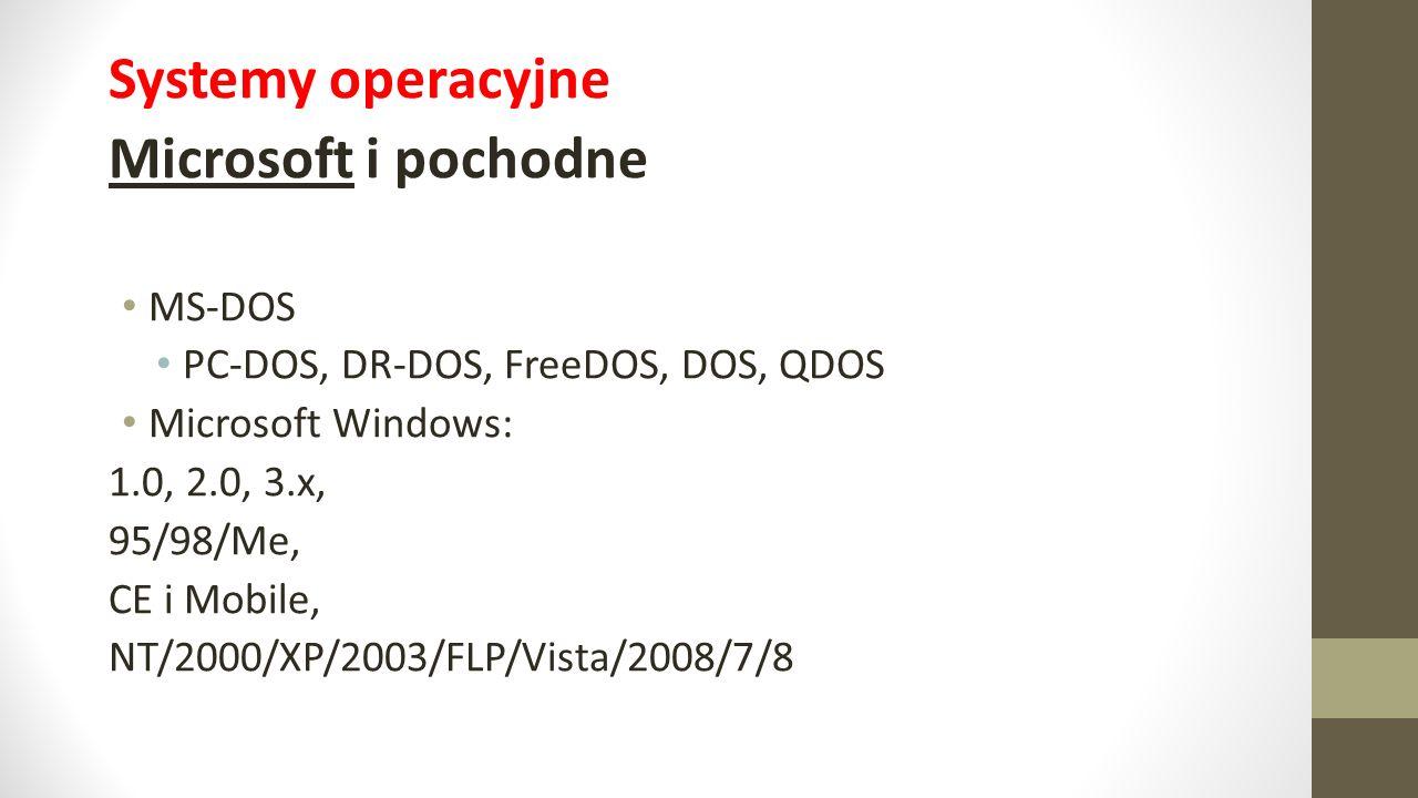 Systemy operacyjne Microsoft i pochodne MS-DOS PC-DOS, DR-DOS, FreeDOS, DOS, QDOS Microsoft Windows: 1.0, 2.0, 3.x, 95/98/Me, CE i Mobile, NT/2000/XP/2003/FLP/Vista/2008/7/8
