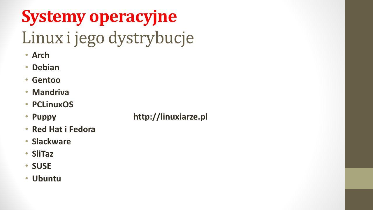 Systemy operacyjne Linux i jego dystrybucje Arch Debian Gentoo Mandriva PCLinuxOS Puppy http://linuxiarze.pl Red Hat i Fedora Slackware SliTaz SUSE Ubuntu