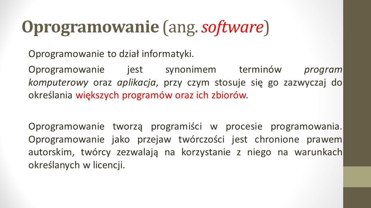 Oprogramowanie (ang. software) Oprogramowanie to dział informatyki.
