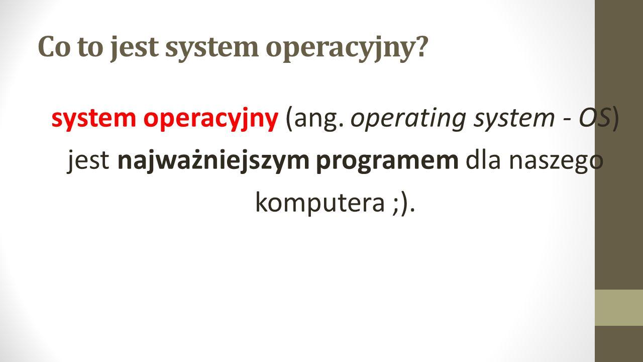 Co to jest system operacyjny. system operacyjny (ang.