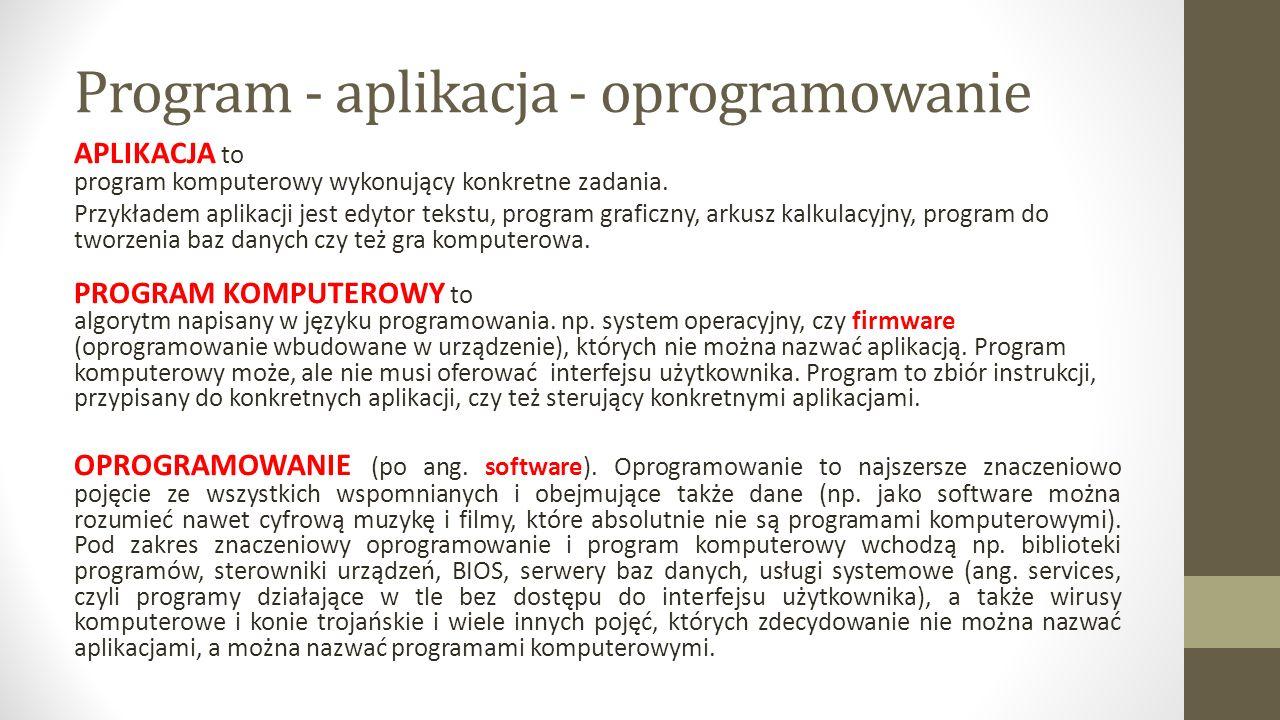 Program - aplikacja - oprogramowanie APLIKACJA to program komputerowy wykonujący konkretne zadania.