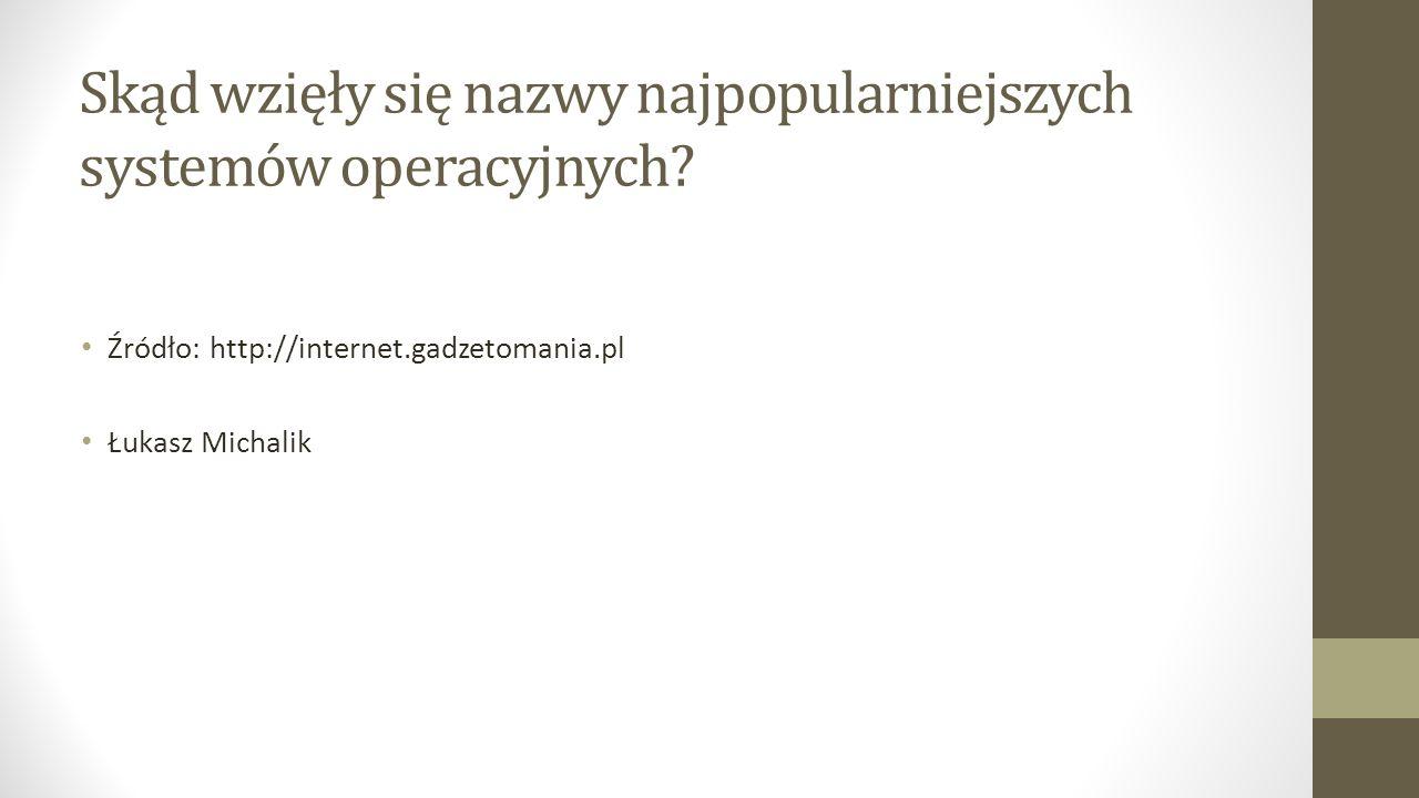 Skąd wzięły się nazwy najpopularniejszych systemów operacyjnych.