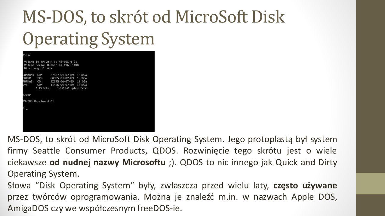 MS-DOS, to skrót od MicroSoft Disk Operating System MS-DOS, to skrót od MicroSoft Disk Operating System.