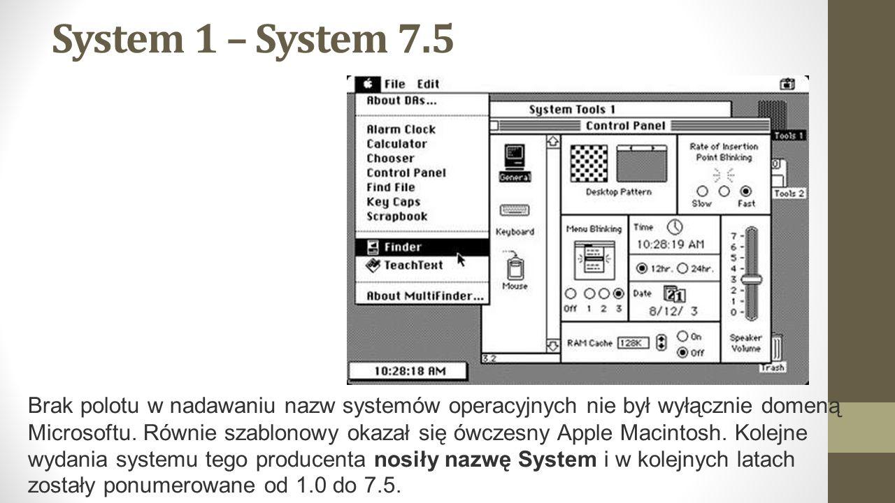 System 1 – System 7.5 Brak polotu w nadawaniu nazw systemów operacyjnych nie był wyłącznie domeną Microsoftu.