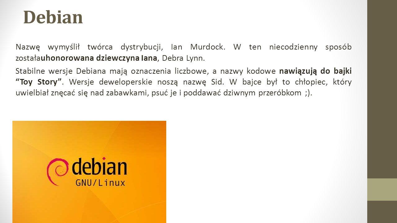 Debian Nazwę wymyślił twórca dystrybucji, Ian Murdock.