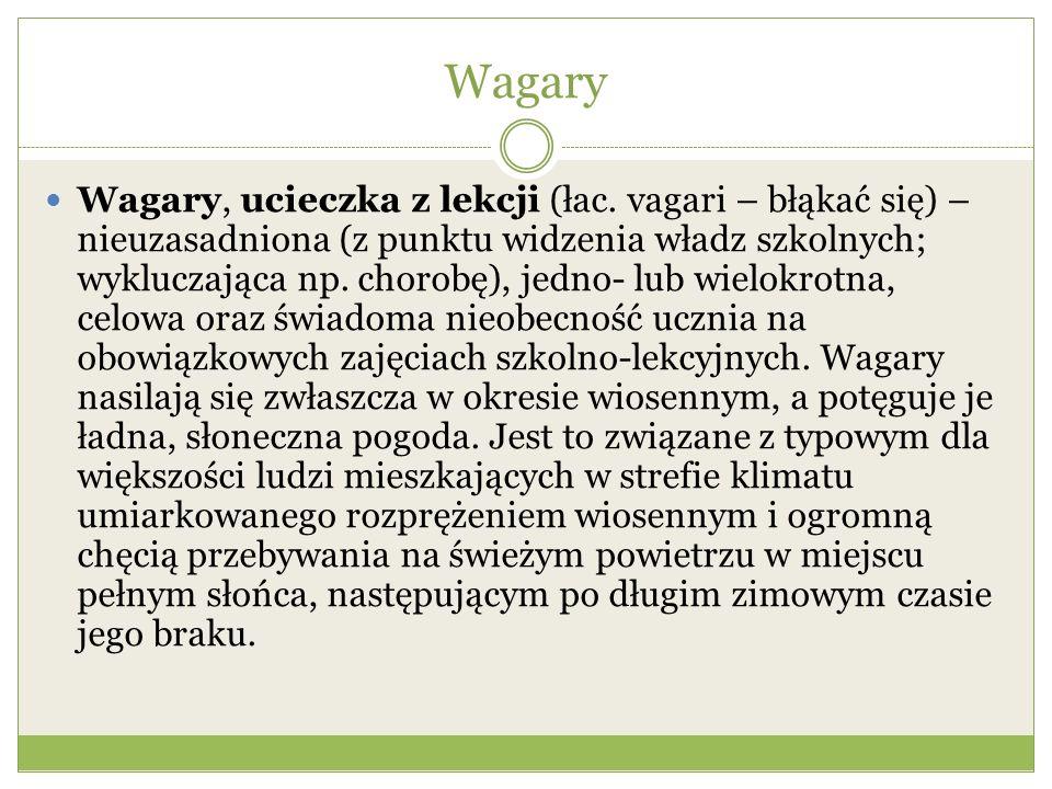 Wagary w oczach młodzieży Wagary – desperacka próba obcowania z wolnością, polegająca na uniknięciu gościnnych i opiekuńczych progów szkoły.