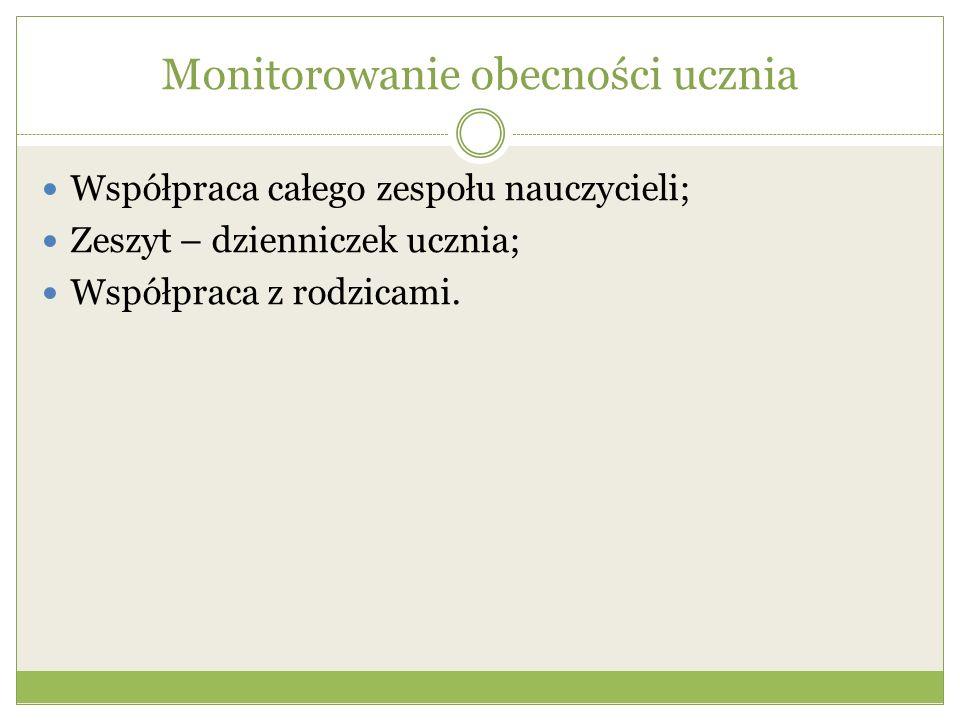 Monitorowanie obecności ucznia Współpraca całego zespołu nauczycieli; Zeszyt – dzienniczek ucznia; Współpraca z rodzicami.