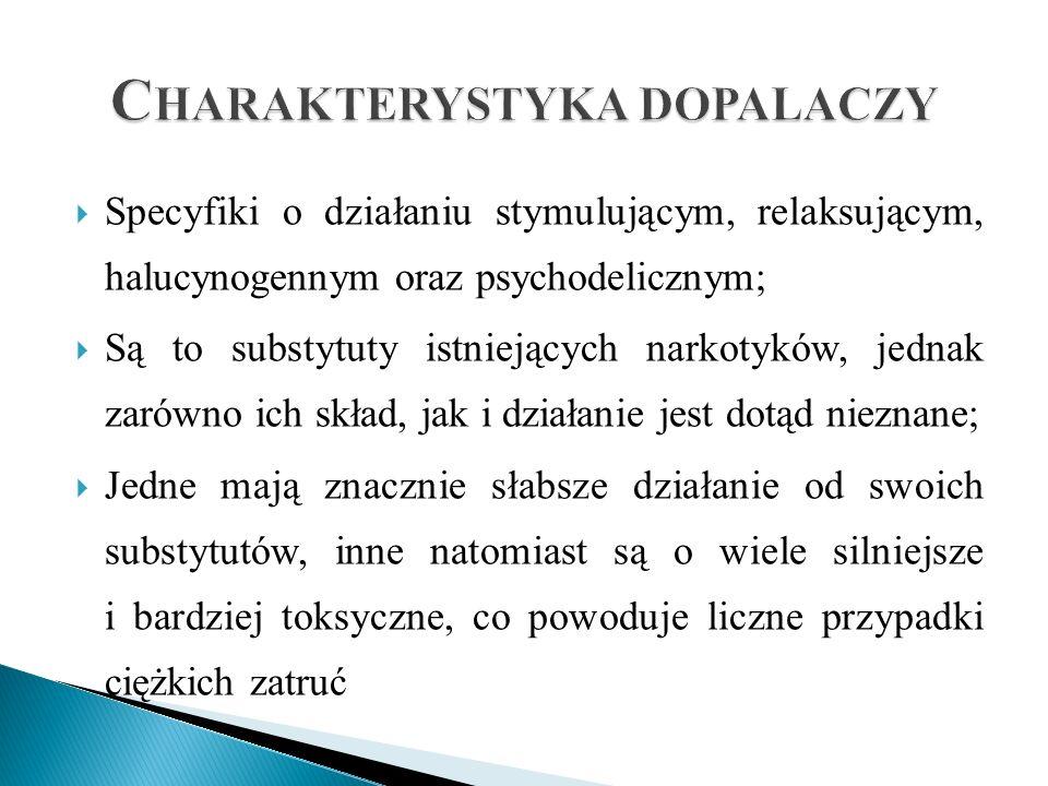  Specyfiki o działaniu stymulującym, relaksującym, halucynogennym oraz psychodelicznym;  Są to substytuty istniejących narkotyków, jednak zarówno ic