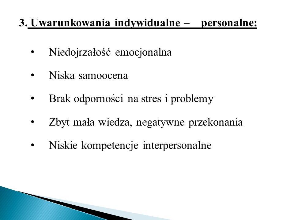 . 3. Uwarunkowania indywidualne – personalne:. 3. Uwarunkowania indywidualne – personalne. Uwarunkowania indywidualne – personalne: 3. Uwarunkowania i