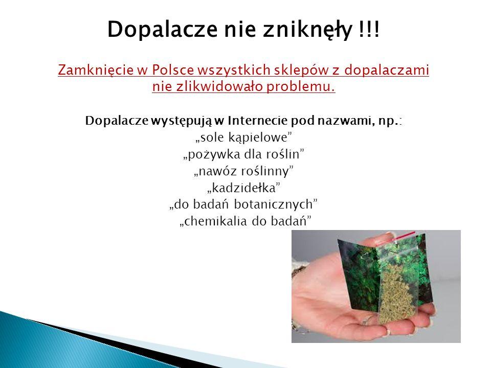 Dopalacze nie zniknęły !!! Zamknięcie w Polsce wszystkich sklepów z dopalaczami nie zlikwidowało problemu. Dopalacze występują w Internecie pod nazwam