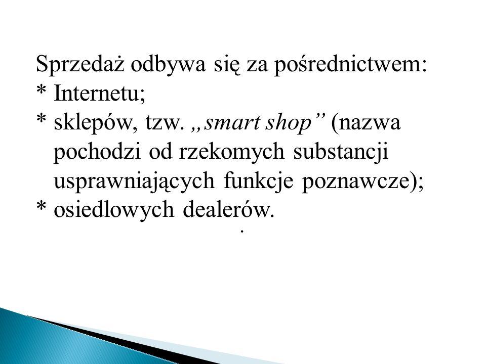""". Sprzedaż odbywa się za pośrednictwem: * Internetu; * sklepów, tzw. """"smart shop"""" (nazwa pochodzi od rzekomych substancji usprawniających funkcje pozn"""