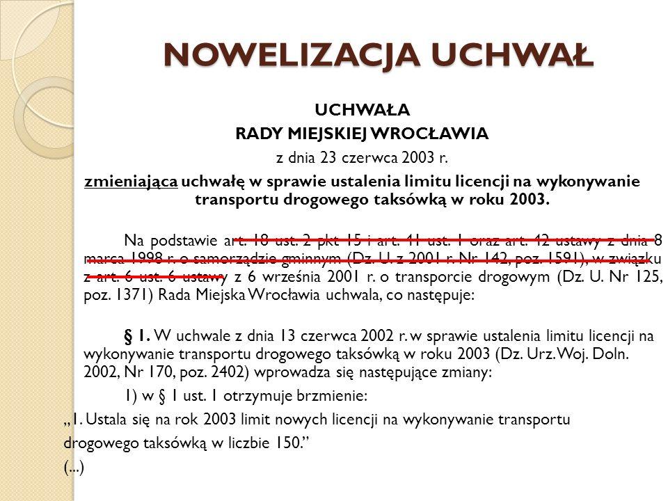 NOWELIZACJA UCHWAŁ UCHWAŁA RADY MIEJSKIEJ WROCŁAWIA z dnia 23 czerwca 2003 r. zmieniająca uchwałę w sprawie ustalenia limitu licencji na wykonywanie t