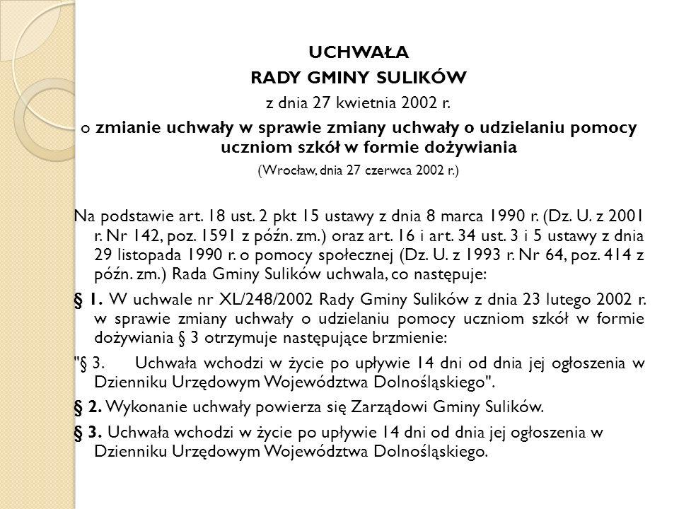 UCHWAŁA RADY GMINY SULIKÓW z dnia 27 kwietnia 2002 r.