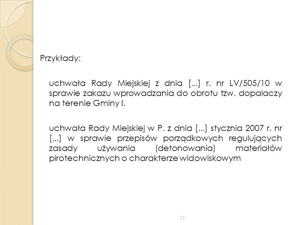 Przykłady: uchwała Rady Miejskiej z dnia [...] r. nr LV/505/10 w sprawie zakazu wprowadzania do obrotu tzw. dopalaczy na terenie Gminy I. uchwała Rady