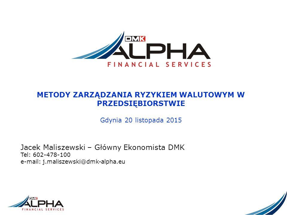 METODY ZARZĄDZANIA RYZYKIEM WALUTOWYM W PRZEDSIĘBIORSTWIE Gdynia 20 listopada 2015 Jacek Maliszewski – Główny Ekonomista DMK Tel: 602-478-100 e-mail: